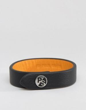 Paul Smith Черный кожаный браслет с логотипом PS By. Цвет: черный