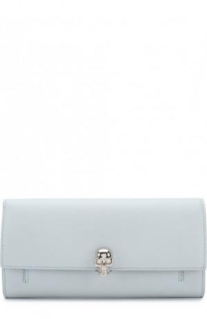 Кожаное портмоне с цепочкой Alexander McQueen. Цвет: голубой