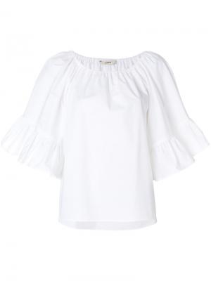 Блузка с оборками на рукавах Odeeh. Цвет: белый