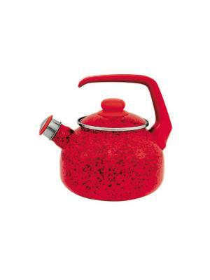 Чайник с бак. руч., со свистком 2,5 л METROT. Цвет: красный