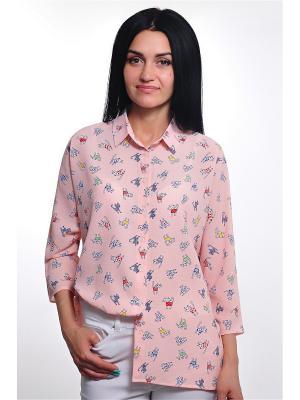 Рубашка RISE. Цвет: розовый