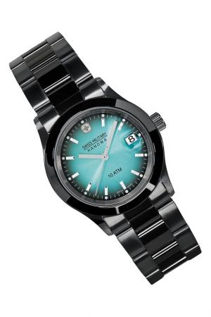 Watch Swiss military. Цвет: turquoise and black