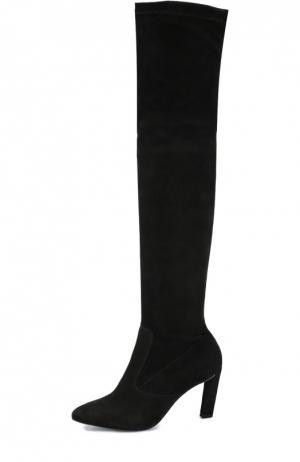 Замшевые ботфорты на скошенном каблуке ROBERT CLERGERIE. Цвет: черный