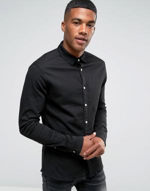 ASOS Черная джинсовая рубашка скинни. Цвет: черный