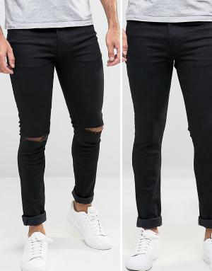 ASOS 2 супероблегающих джинсов скинни (черные/черные с рваными коленками) A. Цвет: черный