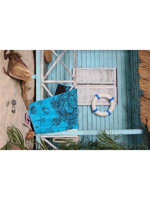Полотенце пляжное  Морские черепахи 85*165 цв. голубой TOALLA. Цвет: голубой