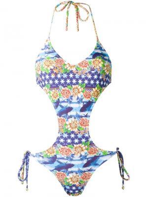 Printed swimsuit Blue Man. Цвет: синий