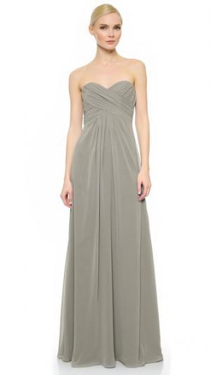 Плиссированное вечернее платье с вырезом сердечком Monique Lhuillier Bridesmaids. Цвет: сланец