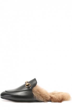 Кожаные сабо Princetown с пряжкой-трензелем Gucci. Цвет: черный