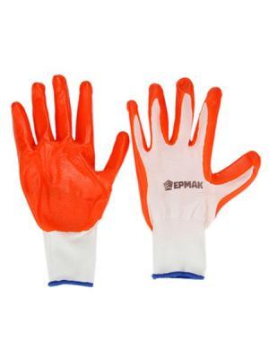 Перчатки рабочие Ермак. Цвет: белый, оранжевый