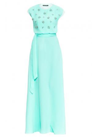 Платье из искусственного шелка с поясом 167886 Paola Morena. Цвет: синий