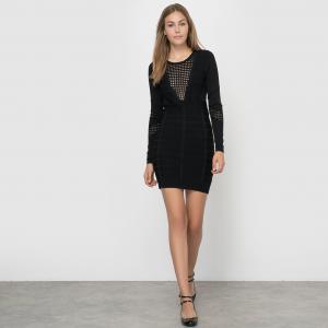 Платье ажурное с длинными рукавами DUO DANNI KNITS LS RDNK DRESS FRENCH CONNECTION. Цвет: черный