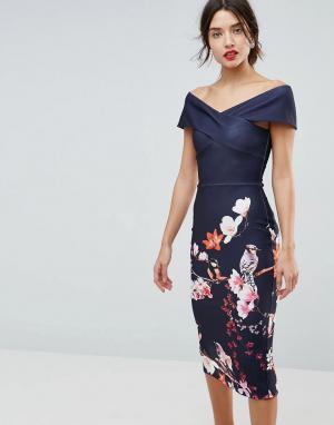 True Violet Облегающее платье с цветочным принтом. Цвет: темно-синий