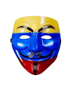 Маскарадная маска Гая Фокса La Mascarade. Цвет: красный, желтый, синий