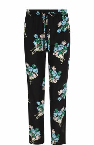 Укороченные шелковые брюки с принтом REDVALENTINO. Цвет: черный