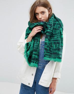ASOS Длинный шарф с графическим узором. Цвет: зеленый