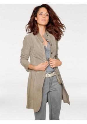 Кожаное пальто Linea Tesini. Цвет: серый, синий