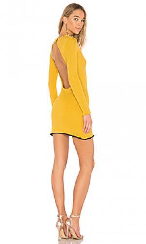 Мини платье ruffle edge For Love & Lemons. Цвет: горчичный
