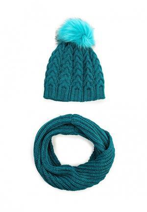 Комплект снуд и шапка Fete. Цвет: бирюзовый