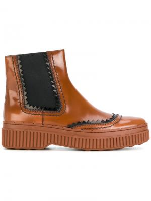 Ботинки челси на флатформе Tods Tod's. Цвет: коричневый