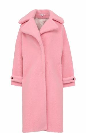 Шерстяное однотонное пальто свободного кроя Olympia Le-Tan. Цвет: розовый