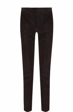 Хлопковые брюки прямого кроя Canali. Цвет: темно-коричневый