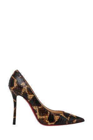 Туфли из кожи питона Decoltish 100 Christian Louboutin. Цвет: коричневый, желтый