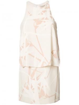 Платье с принтом Halston Heritage. Цвет: телесный
