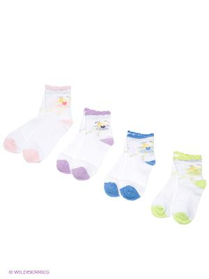 Носки, 4 пары Cascatto. Цвет: розовый, салатовый, голубой