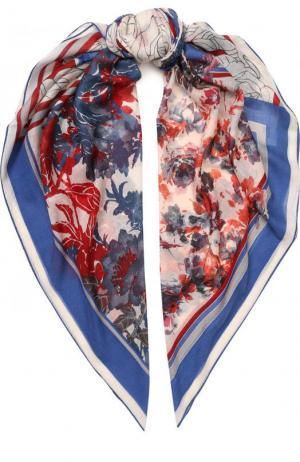 Шаль из смеси кашемира и шелка с цветочным принтом Loro Piana. Цвет: синий