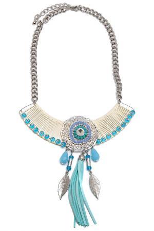 Колье Boho Chic. Цвет: молочный, голубой, серебряный