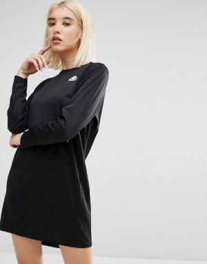Kappa Спортивное трикотажное платье в тонкую полоску с длинными рукавами Kap. Цвет: черный
