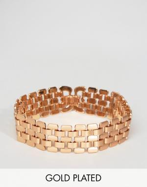 Pilgrim Позолоченный массивный браслет. Цвет: золотой