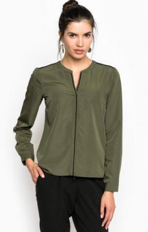 Блуза из вискозы прямого кроя TOM TAILOR. Цвет: хаки