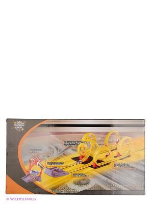 Скоростной гоночный автотрек Американские горки Пламенный мотор. Цвет: коричневый, желтый