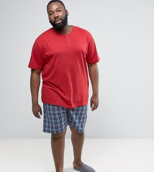 Duke Темно-красная пижама с клетчатыми шортами PLUS. Цвет: красный