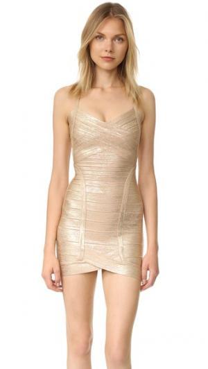 Платье до середины бедра Kourtney Herve Leger. Цвет: светло-золотистый комбо