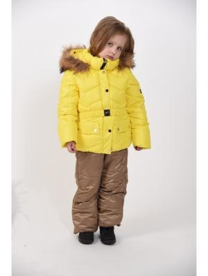 Куртка+полукомбинезон для девочек TOPKLAER. Цвет: желтый