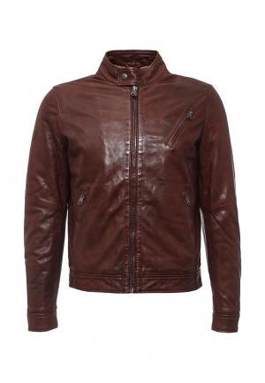 Куртка кожаная MCS. Цвет: коричневый
