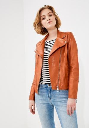 Куртка кожаная Boss Hugo. Цвет: оранжевый