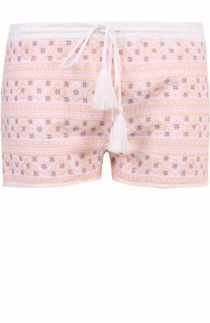 Мини-шорты с контрастной вышивкой Melissa Odabash. Цвет: розовый
