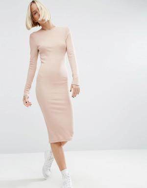 ASOS Облегающее платье миди в рубчик с длинными рукавами. Цвет: розовый