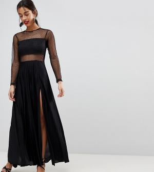 ASOS Petite Платье макси из ткани добби и кружева с плиссированной юбкой длинным. Цвет: черный
