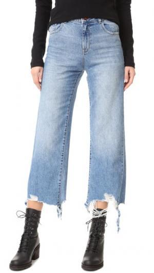 Широкие джинсы Hepburn с высокой посадкой DL1961. Цвет: сланец