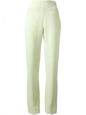 Креповые брюки Jean Louis Scherrer Vintage. Цвет: зелёный