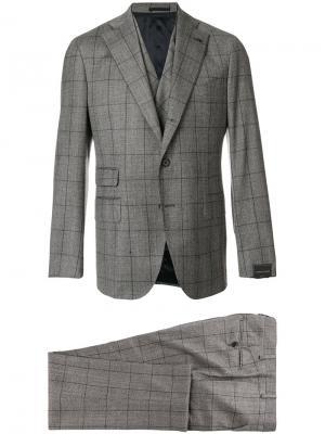 Клетчатый костюмный пиджак Gabriele Pasini. Цвет: серый