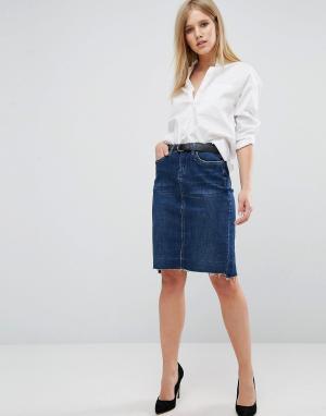 BLANK NYC Джинсовая юбка со ступенчатым краем. Цвет: синий