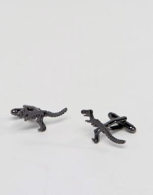 ASOS Запонки с динозаврами. Цвет: черный