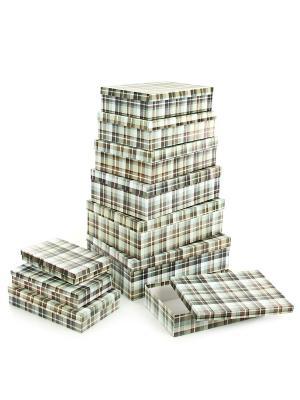 Набор из 10 картонных коробок 23*13*3-36,5*26,5*12см, Уютный плед VELD-CO. Цвет: оливковый, светло-коричневый, терракотовый