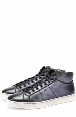 Высокие кожаные кеды на шнуровке Santoni. Цвет: темно-синий